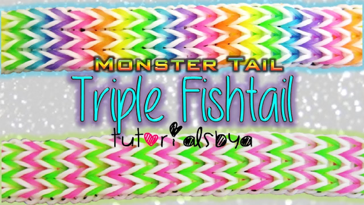 New Triple Fishtail Monster Tail Rainbow Loom Bracelet