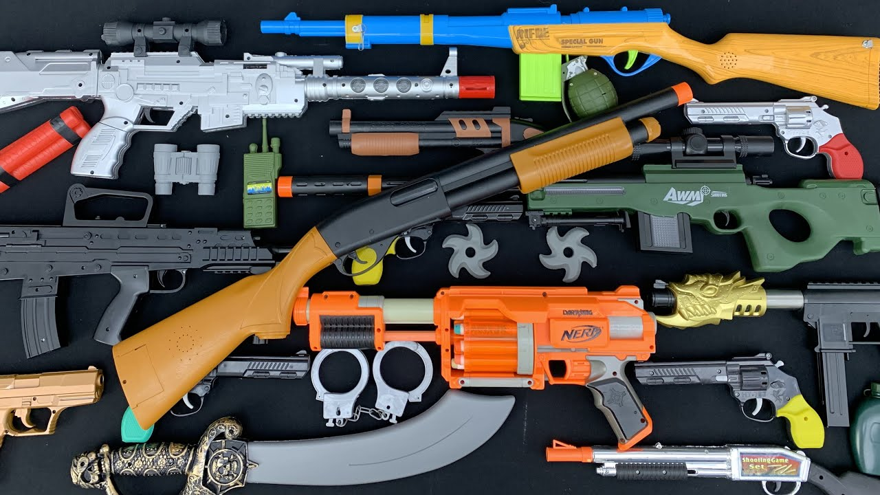 Scimitar Fighting Sword and Ninja Stars! Exploding Toy Grenades! Rifles and Guns Collection Show Off