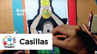 Dibujo de Iker Casillas levantando la Copa del Mundo en Sudáfrica 2010.