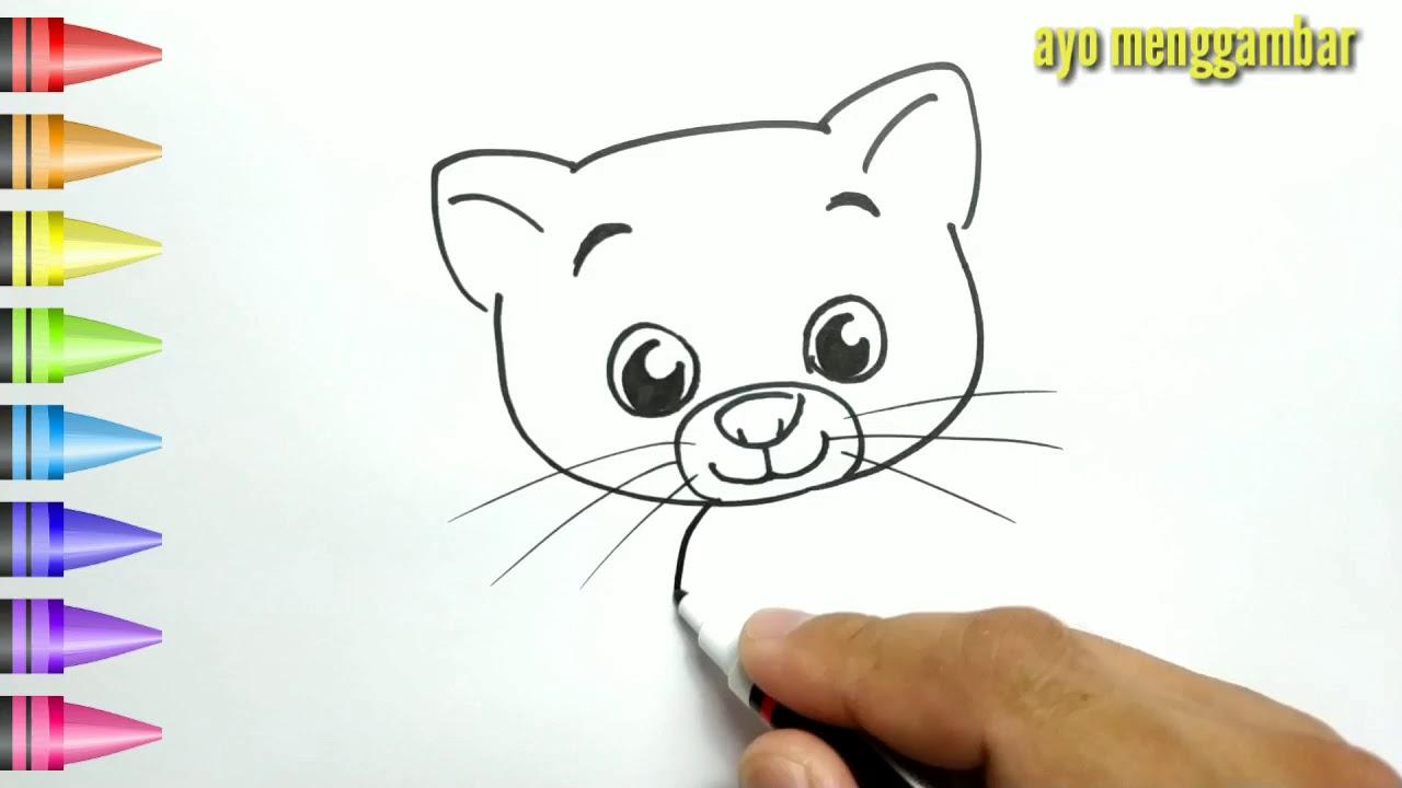 MUDAHNYA Ayo Belajar Cara Menggambar ANAK KUCING LUCU Dan Mewarnai Kartun Untuk Anak Anak