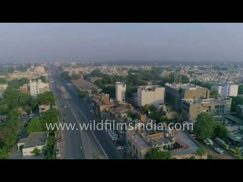 Amritsar from the air: Golden Temple and markets