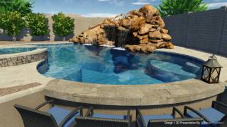 Lagoon Style Pool with Sunken Bar & BBQ