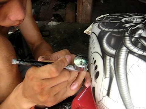 aboo pro airbrush artist vietnamese - airbrushing skull honda steed