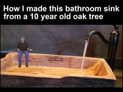 Homemade oak bathroom sink
