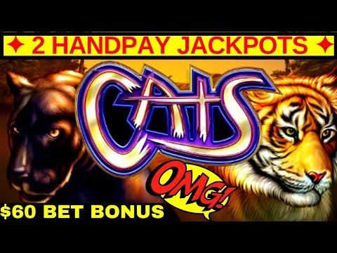 ✦2 HANDPAY JACKPOTS✦ On High Limit CATS Slot Machine $60 Bet Bonus ! Awesome Run In High Limit Room