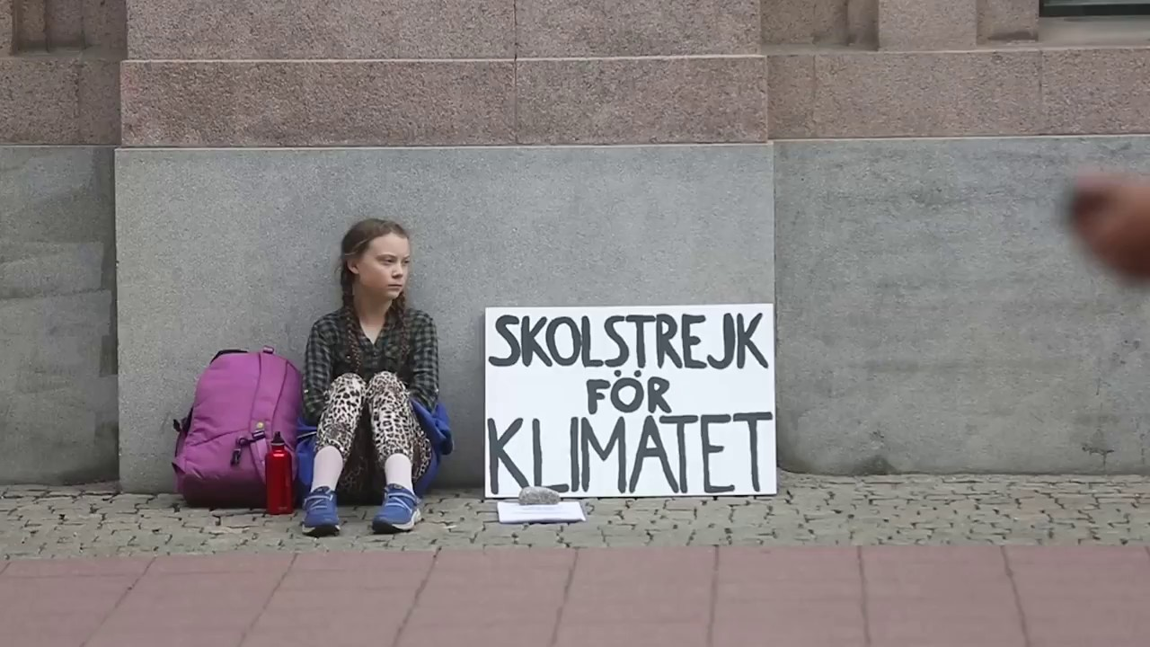 Image result for Greta Thunberg protesting alone outside Swedish Parliament.