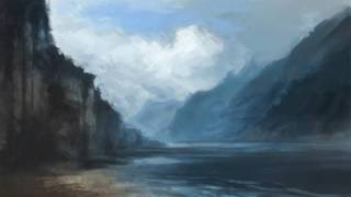 How to paint Mountain Water and Cloud Digital painting tutorial environment concept