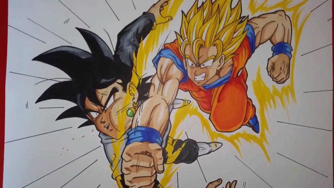 Drawing Goku Super Saiyan 2 vs Black Goku  Dragonball Super