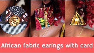 African print earrings // with gold // using card