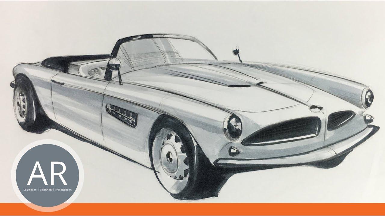 Lerne einfach Autos zeichnen. Mappenkurs Transportationdesign. - YouTube