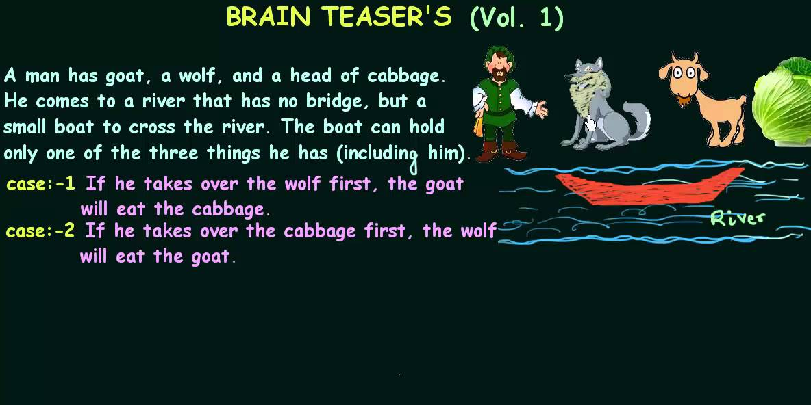 Brain Teaser's #1   Man, Wolf, Goat and Cabbage - YouTube