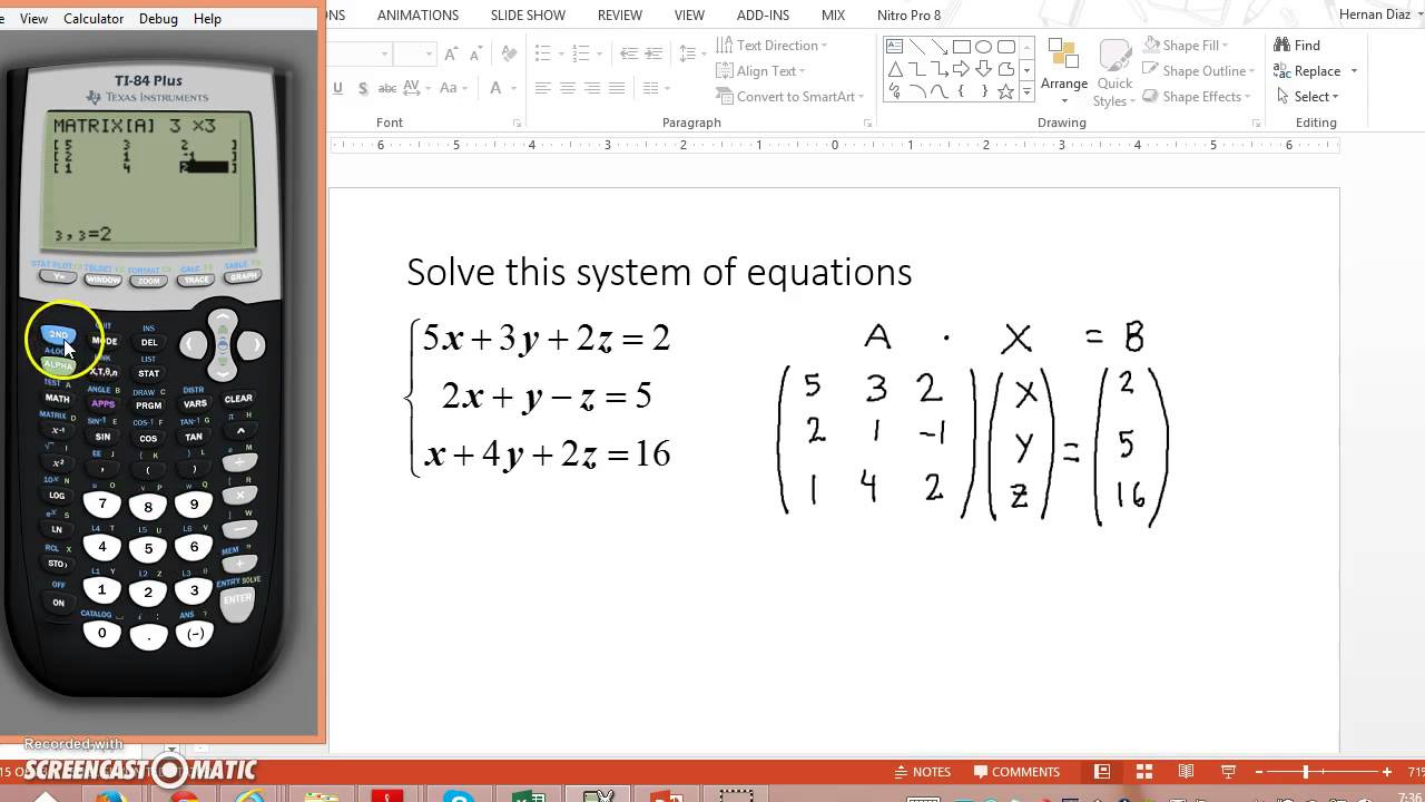 Using the TI-84 to solve systems of equations with 3 ...