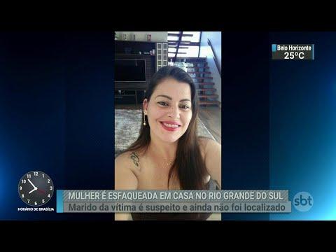 Mulher é morta a facadas dentro de casa no município de Portão, no RS | SBT Brasil (08/09/18)