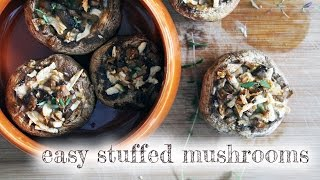 Vegan Baked Stuffed Mushrooms [gluten-free, Soy-free, Oil-free Option]