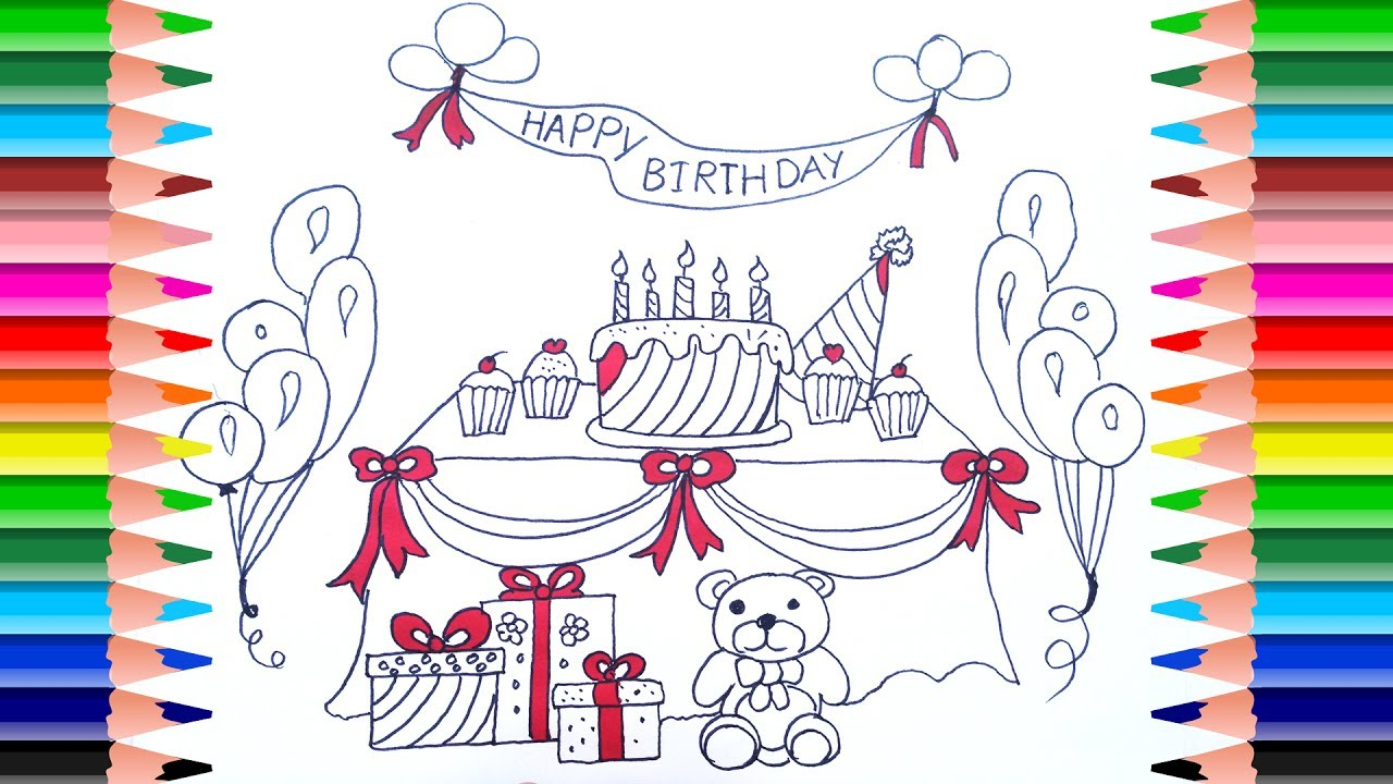 How to Draw a Birthday Party Set for Kids | Coloring Pages Cake ...
