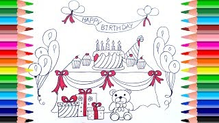 How to Draw a Birthday Party Set for Kids   Coloring Pages Cake, Presents, Hat, Balloons,Teddy bear
