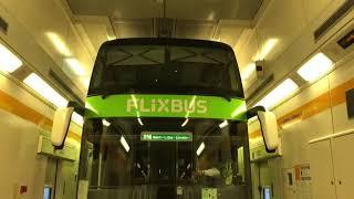 Eurotunnel. Loading double decker bus (coach) onto the shuttle train. (Amsterdam-London)