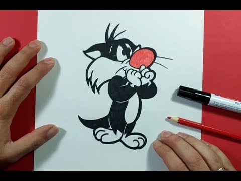 Como Dibujar A Silvestre Paso A Paso - Looney Tunes | How To Draw Silvestre - Looney Tunes