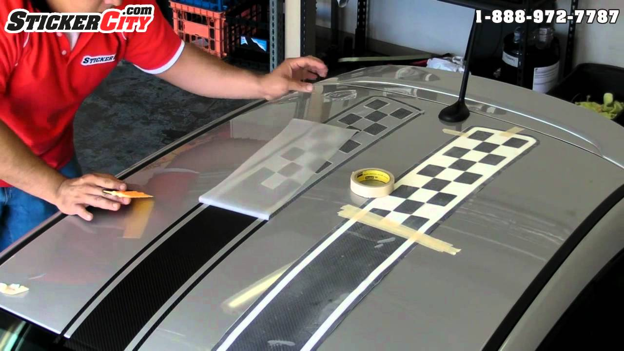 Fiat 500 Stripes Stickers 3d Carbon Fiber Installation