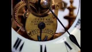 EUREKA Top Clock Antique Mantel Shelf 1906 RARE Dome Brass Glass
