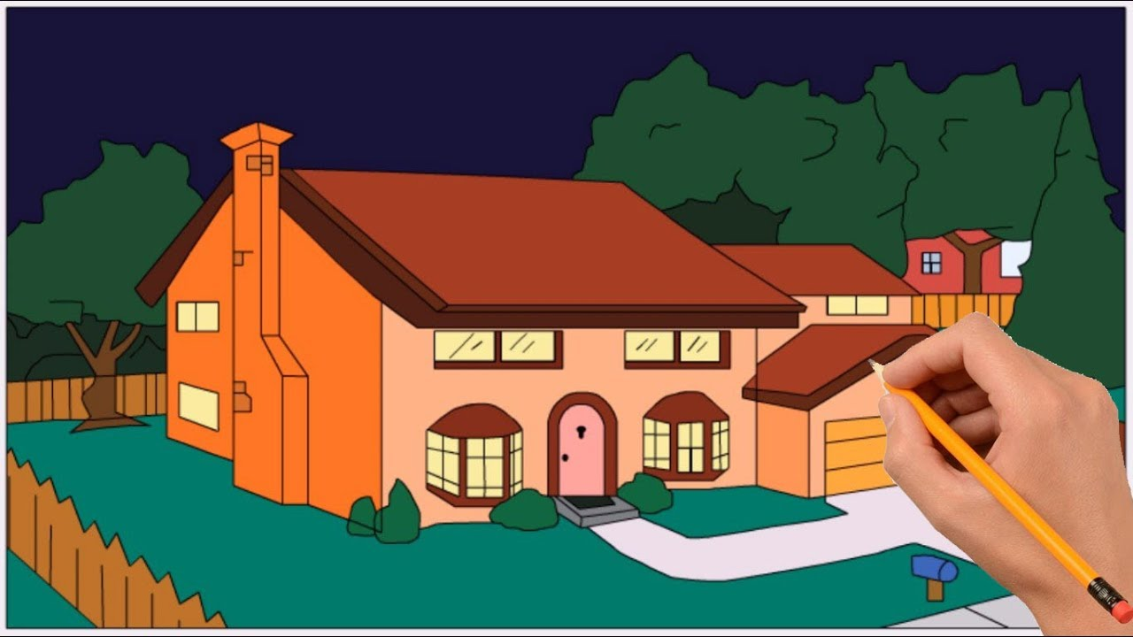 How To Draw The Simpsons House Step By Step Coloring Book Page And Drawing Learn Colors For Kids