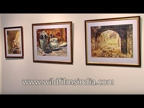 Vibha Singh Saba Hassan Roop Chandra exhibit artwork at Lalit Kala Akademi Delhi