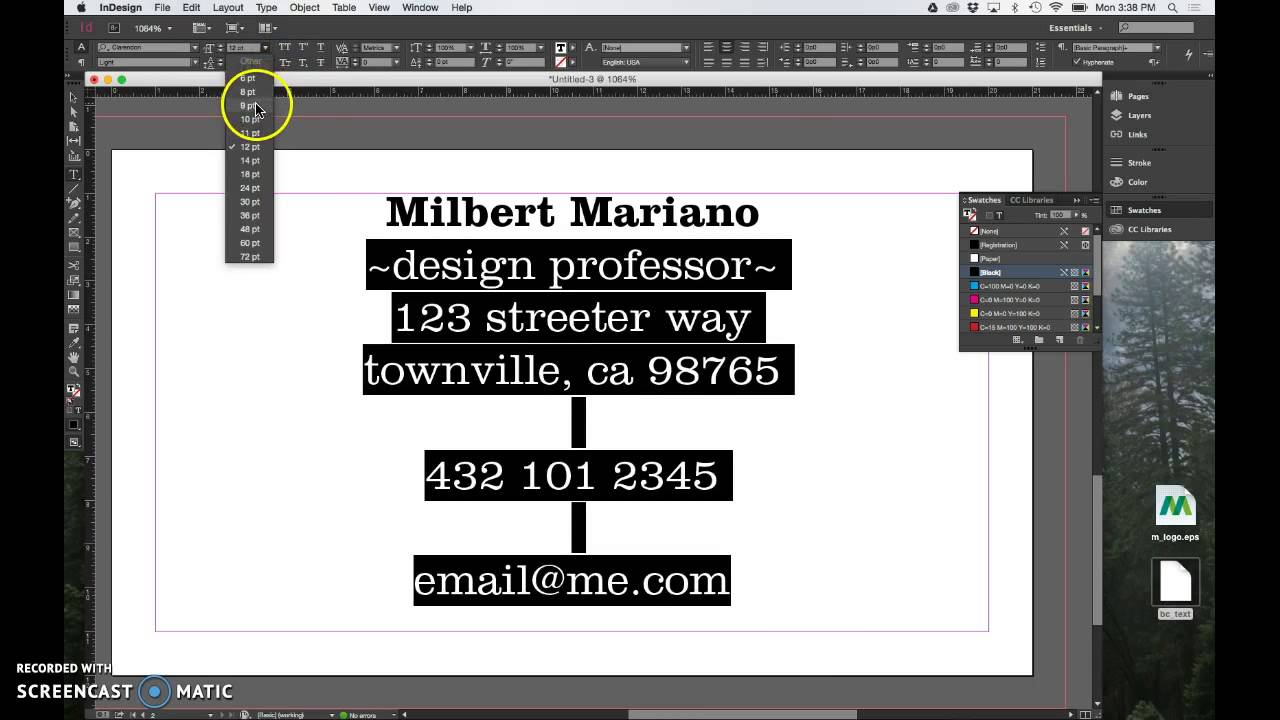 How to create a simple Business Card in InDesign CC - YouTube