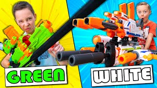 Using Only ONE Color of NERF Guns to Build Giant Nerf Combo Challenge