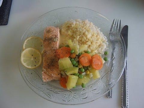 Рис, овощи с рыбой на пару Monsieur Cuisine Connect