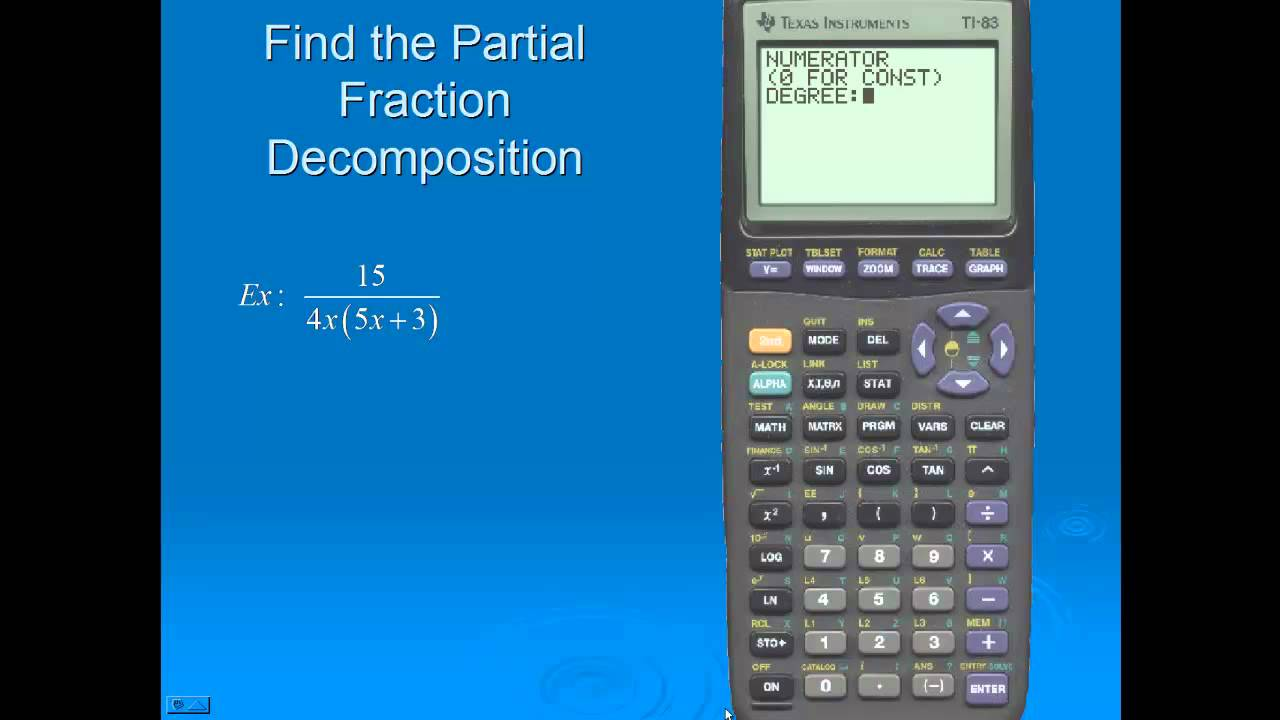Partial Fractions Ti-83+ - www.titutor.com - YouTube