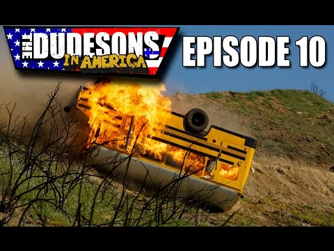 FLAMING BUS DOWN A CLIFF STUNT!  Dudesons In America Episode 10