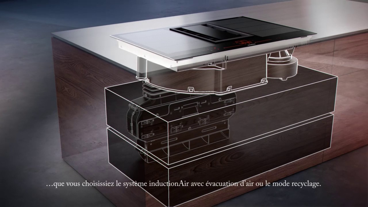 table de cuisson avec ventilation int gr e siemens inductionair youtube. Black Bedroom Furniture Sets. Home Design Ideas