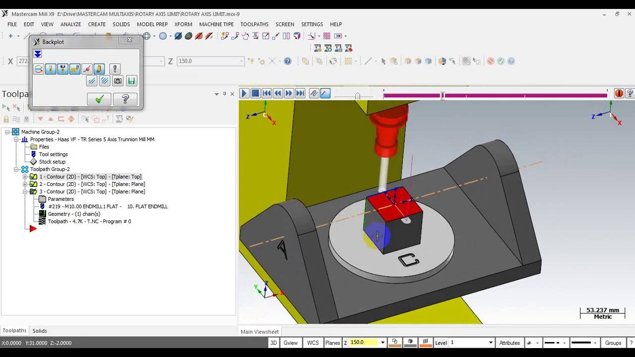 MASTERCAM 5-AXIS POST PROCESSOR CONFIGURING: EDIT ROTARY LIMIT