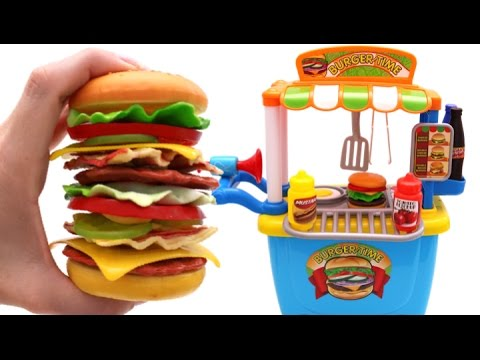 Toy Hamburger Playset Learn Fruits & Vegetables with Velcro Toys for Kids