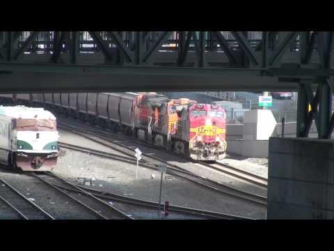 Passenger Train & Grain Train under the stadium, Seattle, 4-4-2012