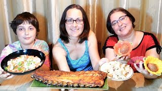 BBQ Baby Back Ribs, Chocolate Mousse, Potato Hash And Fennel Tomato Salad | Gay Family Mukbang (먹방)