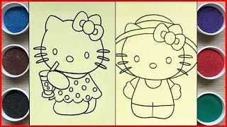 Đồ chơi trẻ em, TÔ MÀU TRANH CÁT MÈO HELLO KITTY TỔNG HỢP,  Colored sand painting toys (Chim Xinh)