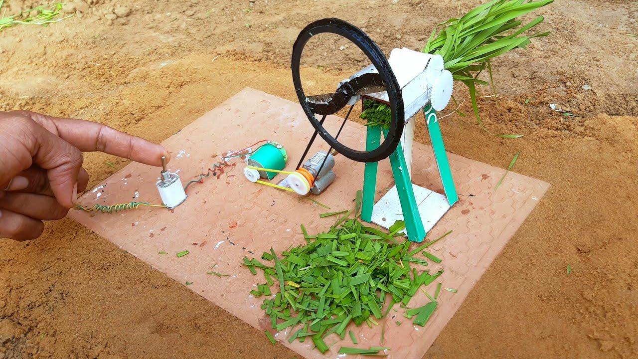 How to make mini gandasa machine motor || from cardboard science project work