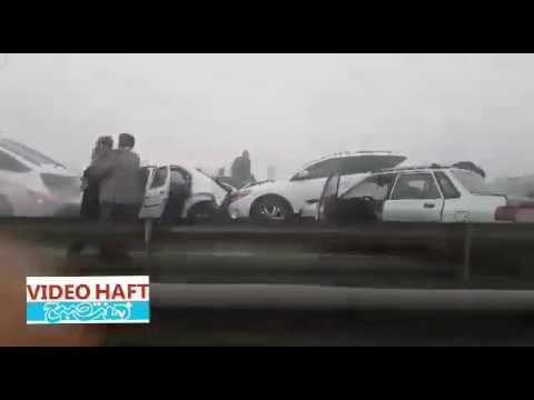 line of long accident in Iran {highway between Mashhad Nishapur}