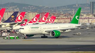 (4K) Turkmenistan airlines 777-200LR landing, taxi, and take-off from Istanbul Atatürk airport