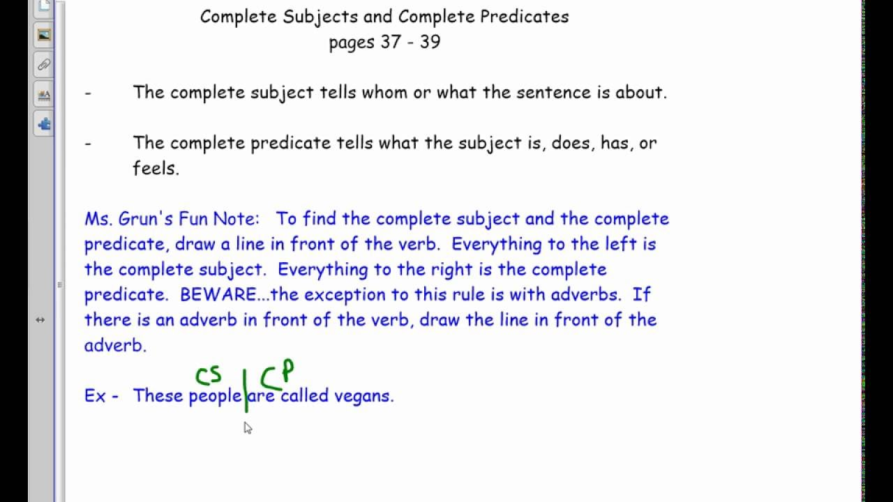 Complete Subject Complete Predicate 8th YouTube – Complete Subject and Complete Predicate Worksheet
