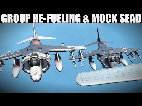 Harrier Group Air To Air Re-Fueling & SEAD Practice | DCS