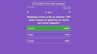 Hadi Yarışması Soru ve Cevapları (23.11.2018 12:30)