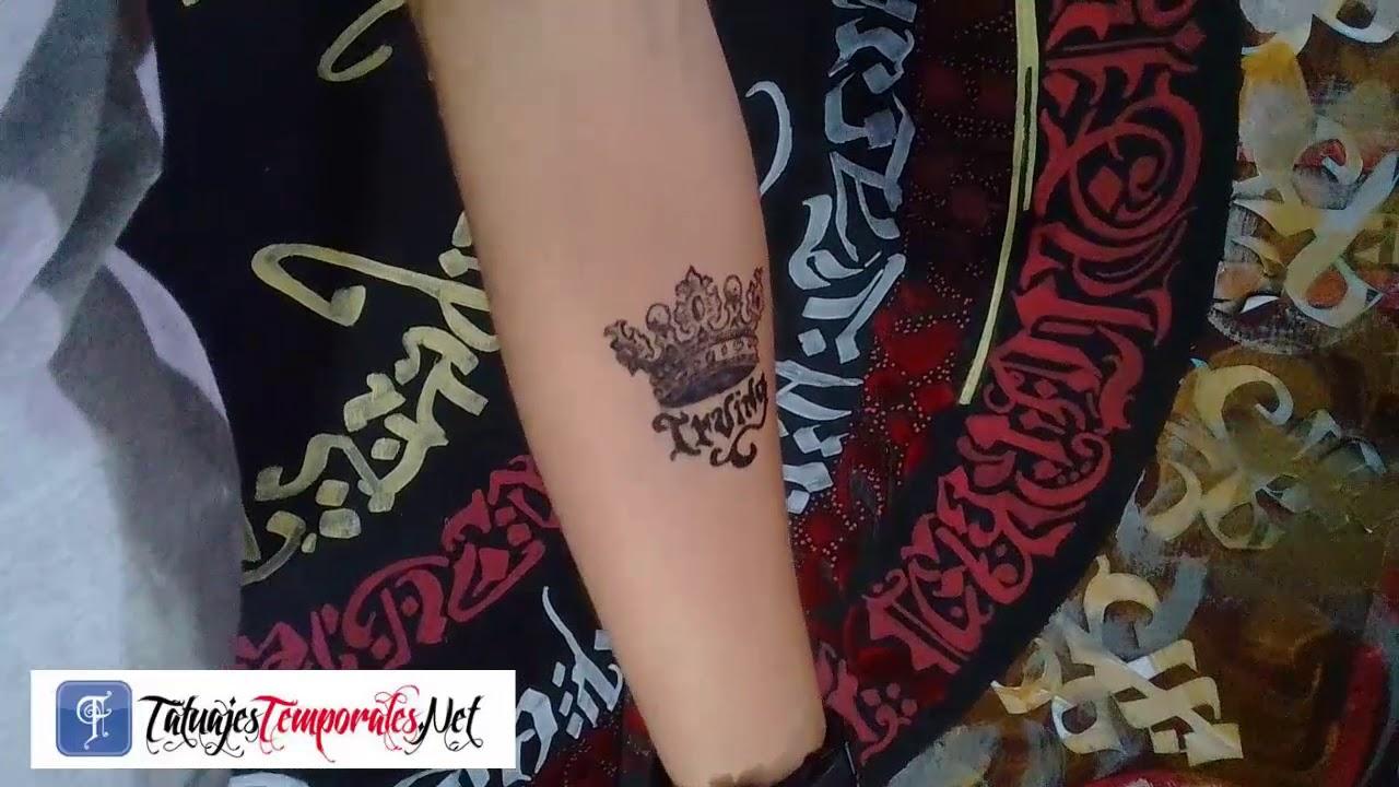 Tatuajes Temporales Badabun tatuaje temporal diseño corona con nombre tatuajestemporales