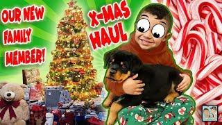BOY GETS A ROTTWEILER PUPPY FOR XMAS! CUTEST REACTION! CHRISTMAS HAUL! DINGLE HOPPERZ VLOG