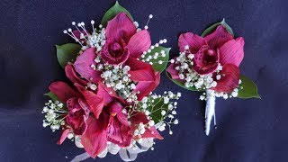 How to make orchid corsage and boutonniere set for prom or wedding