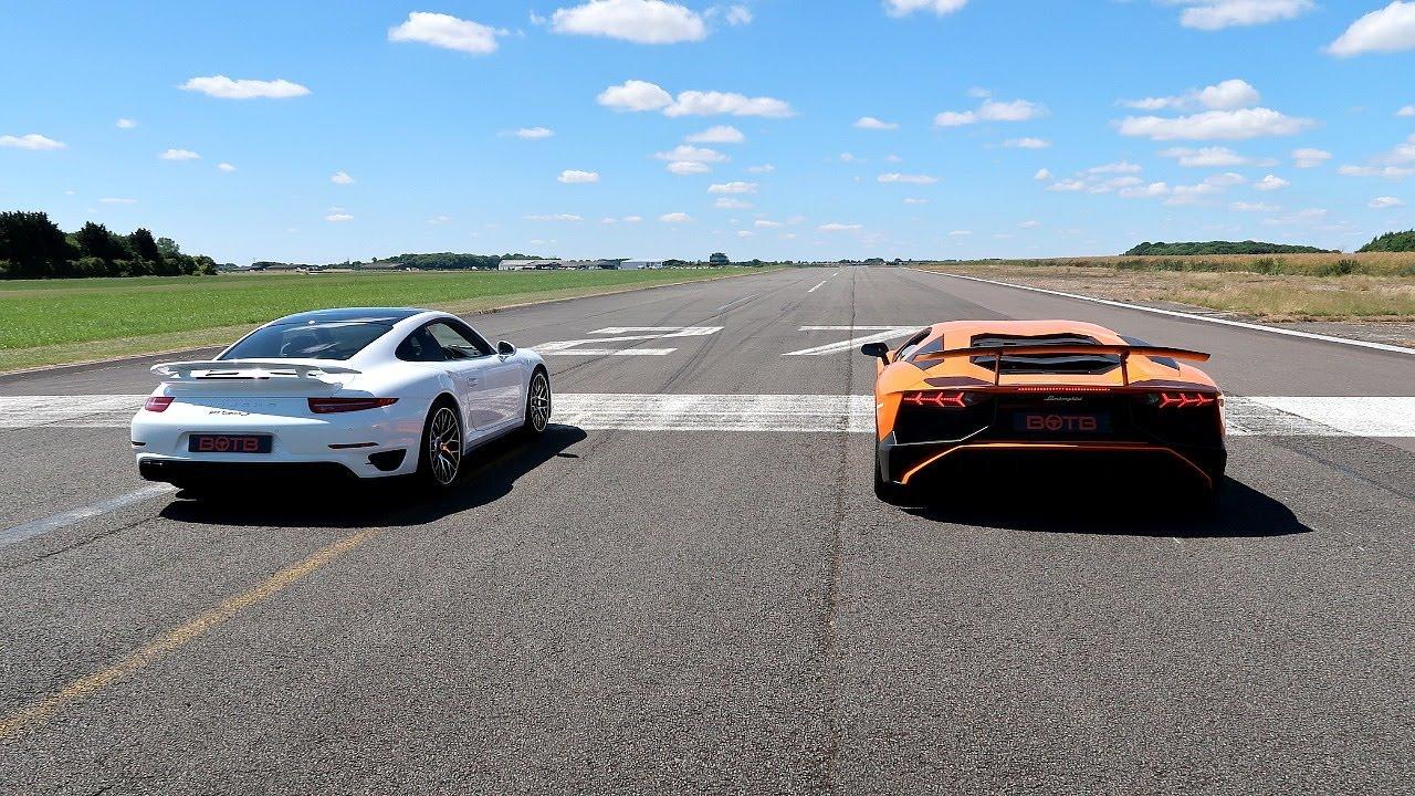 Race Lamborghini Aventador Sv Vs Porsche 911 Turbo S Youtube