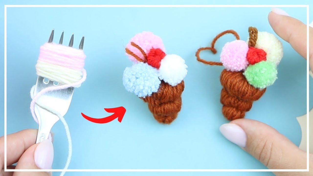 Сладкое Мороженое - Подвеска из Помпонов 🍧🧶🍧 Sweet Ice Cream - Charm of Yarn Making 🌟 DIY NataliDoma