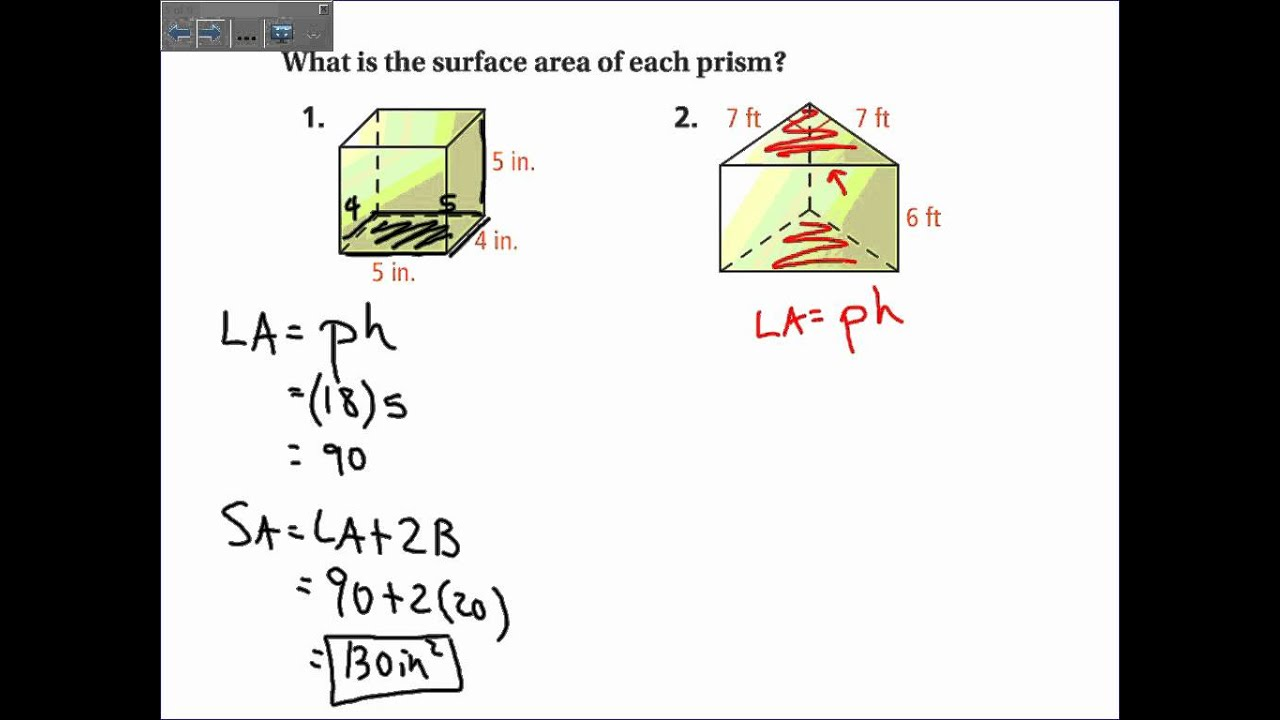 worksheet Surface Area Of A Prism Worksheet 11 2 surface area of prisms and cylinders wmv youtube wmv