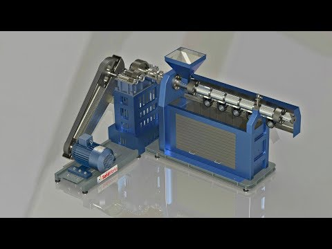 Plastic pipes extrusion machine assembly animation